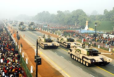 The Indian Army's MBT Arjun tanks participate in the rehearsal for the Republic Day parade in New Delhi