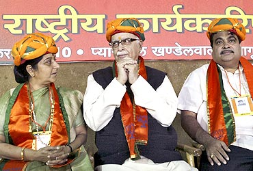 BJP leaders Sushma Swaraj, Lal Krishna Advani and Nitin Gadkari at the national executive meet in Indore