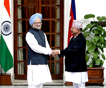 Nepal PM with his Indian counterpart