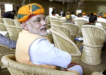 Gujarat Chief Minister Narendra Modi at the BJP meet in Indore on February 18, 2010