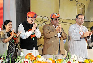 Sushma Swaraj, L K Advani, Arun Jaitley and Nitin Gadkari at the party meet in Indore on February 18, 2010