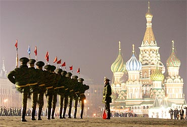 Russian soldiers march during a military parade rehearsal in Red Square Moscow