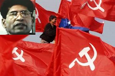 A CPI-ML worker puts up party flags. (Inset) Ganapathy