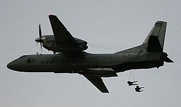 Paratroopers jump from an IAF AN-32 transport aircraft in Pokhran