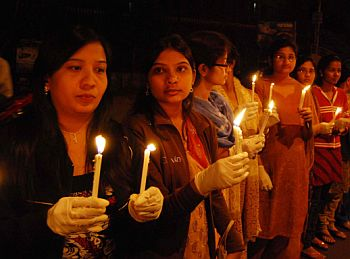 Candle light vigil organised by the nurses of the Gandhi Hospital