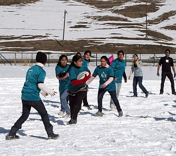 A snow rugby game in progress