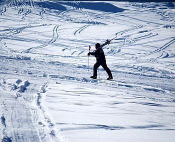 A skier takes a hike