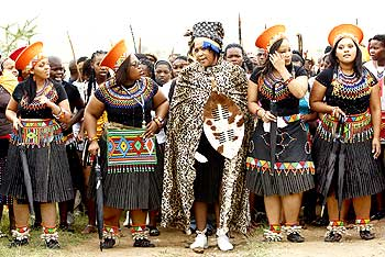 Tobeka Madiba arrives with her bride maids during her traditional wedding