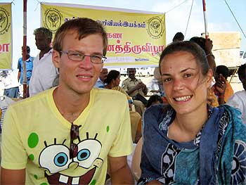 Lucas Fuchs and Reka Harvath from Austria at Dhanushkodi