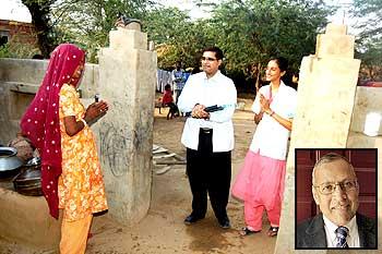Arogya Ghar staff at work. (Inset) Dr Bhagwati P Agrawal