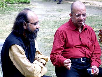 Kabir Suman with poet Joy Goswami