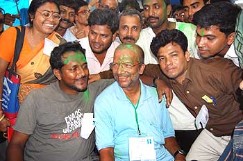 Kabir Suman with his supporters