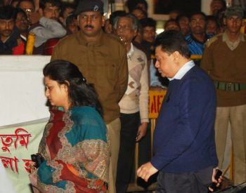 Jyoti Basu's son Chandan and his wife leave the hospital after his death