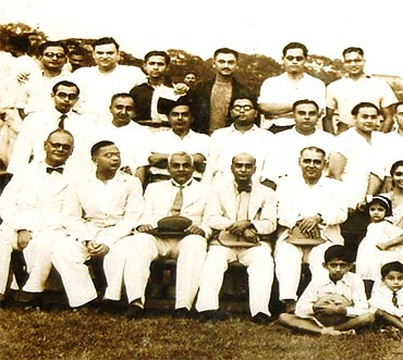 Picture taken after a football match. Basu (last row, third from left)
