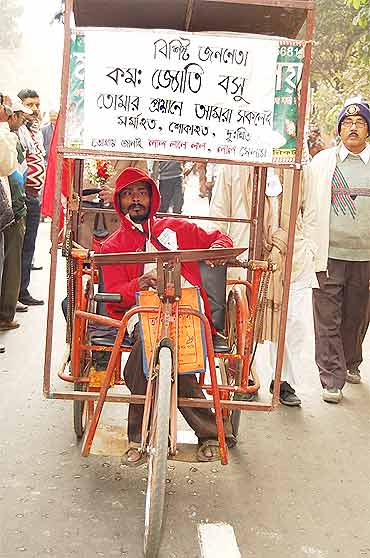 A physically challenged man at the Legislative  Assembly to pay his last respects to Basu