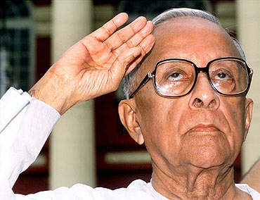 File photo shows the former West Bengal chief minister saluting on independence day