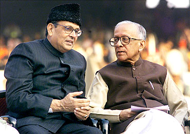 File photo shows Basu with late Prime Minister V P Singh in Kolkata
