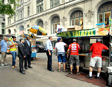A falafel cart in New York