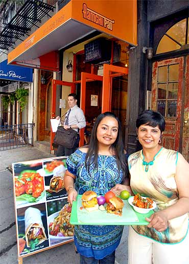 Surbhi Saini and Nandini Mukherjee at their restaurant Amchi Pao