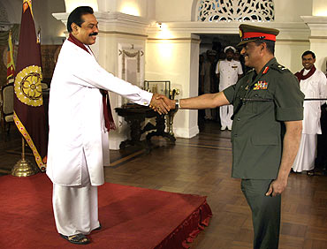 President Mahinda Rajapaksa with his Army commander Lieutenant-General Sarath Fonseka in happier times