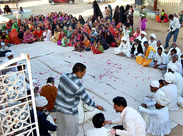 A file picture of a village meeting at a village in Kutch