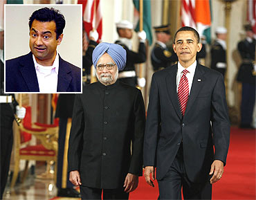 US President Barack Obama and Prime Minister Manmohan Singh at the White House in Washington and (inset) Varun Nikore
