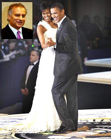 Obama dances with wife Michelle at the Commander-in-Chief Ball and (inset) Kumar Barve