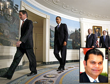 Obama leaves after urging Wall Street to roll back executive bonuses and (inset) Suhail Khan
