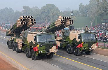 The Multiple Launch Rocket System passes through Rajpath
