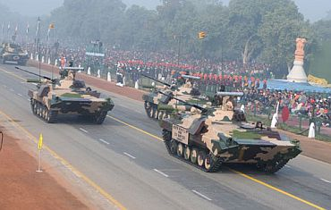 The ICV BMP II K Sarath passes through Rajpath