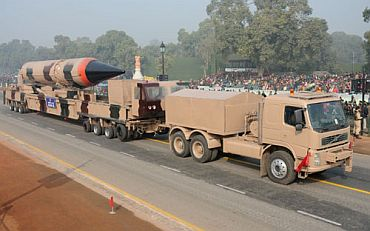 The Agni-III passes through Rajpath