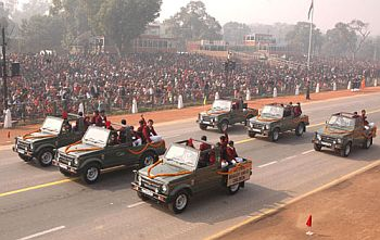 National Bravery Award winning children passing through Rajpath