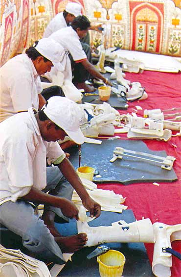 Trust's workers make hearing aids, callipers, the Jaipur foot and prosthetics