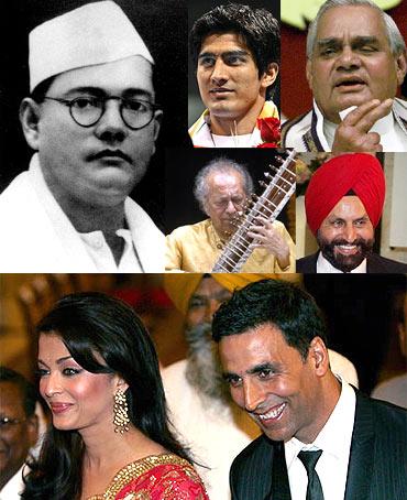 Winners all: Subhas Chandra Bose, Vijender Singh, Atal Bihari Vajpayee,Pandit Ravi Shankar, Sant Chatwal, Aishwarya Rai, Akshay Kumar