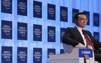 Li Keqiang at the Davos World Economic Forum.