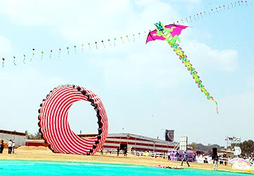 A dragon-shaped kite on display at the festival