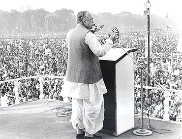Jyoti Basu addresses a massive public rally at Kolkata's Brigade Parade Grounds