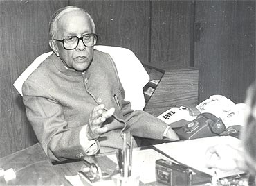 Jyoti Basu in his office in Writers' Building, Kolkata.