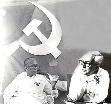 The architects of CPI-M: Jyoti Basu and (right) Promode Dasgupta