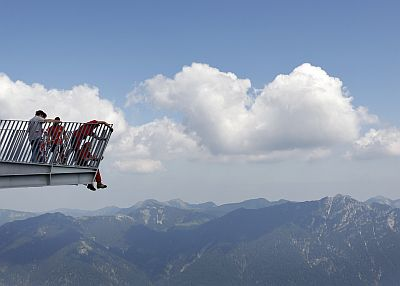 Employees work on the AlpspiX viewing platform at the southern Bavarian Alps mountain Alpspitze in Garmisch-Partenkirchen on June 29, 2010. Each arm of the so-called AlpspiX platform is 25 metres (82 feet) long and will end with a glass wall providing panoramas of Hoellental and Garmisch with a spectacular view down 1000 metres below. It is due to open on July 4.