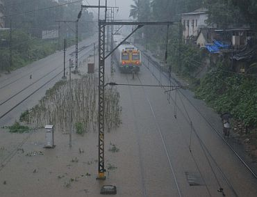 Waterlogged railway tracks in Sion