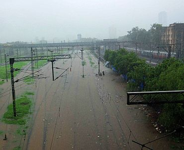 Submerged Railway tracks at Wadala