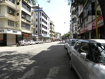 The deserted Colaba causeway in Mumbai