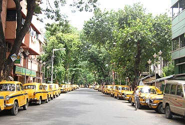 Taxis also stayed off the roads in Kolkata