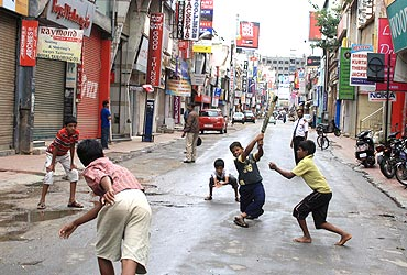 Some children make the most of the bandh