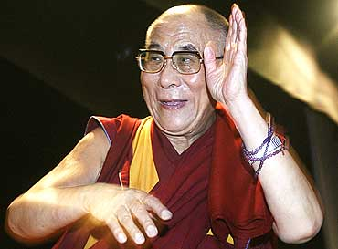 The Dalai Lama at a college in New Delhi