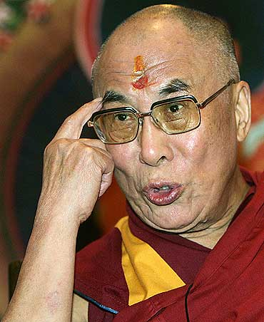 The Dalai Lama at a news conference in New Delhi