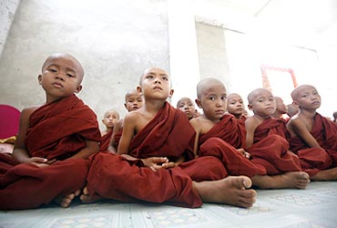 Young Buddhist monks at a monastery near Pyar Pon township in Myanmar