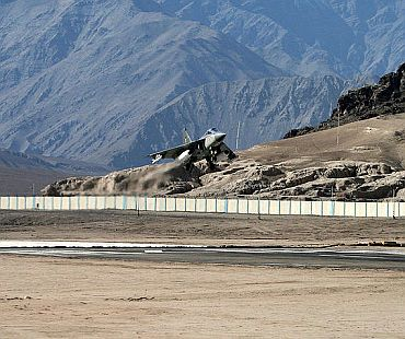 File photo of a LCA trainer aircraft taking off from Leh