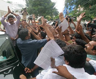 Jagan greets his supporters before embarking on his yatra